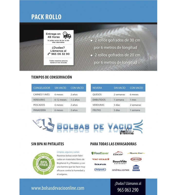 Bolsas de Vacío Gofradas PACK ROLLO