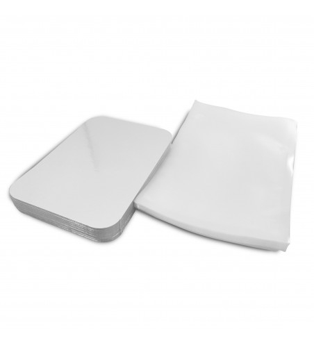 Pack Professional 170x240: 50 Silver Deli Meat/Salmon Backing Boards, 170x240 + 50 90 micron Vacuum Pouches, 200x300mm.