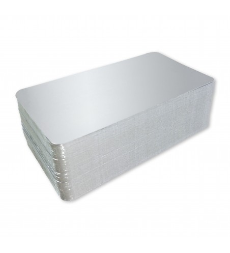 Bandeja cartón plata/plata 100x125 mm. (10x12,5 cm.)